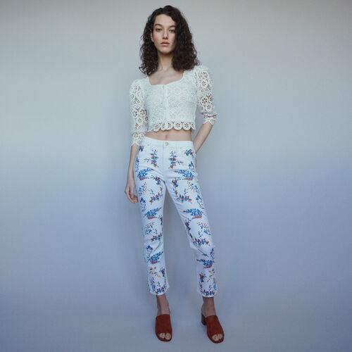 Gerade Jeans mit Stickereien : Hosen & Jeans farbe Mehrfarbigen