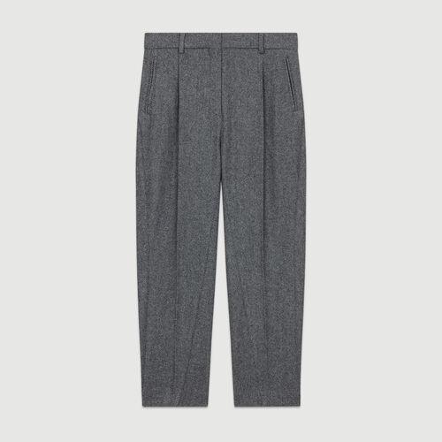 Bundfaltenhose aus Mischwolle : Hosen farbe Grau