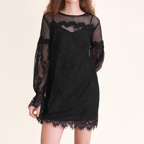 Kurzes Kleid aus Spitze und Plumetis : Kleider farbe Schwarz