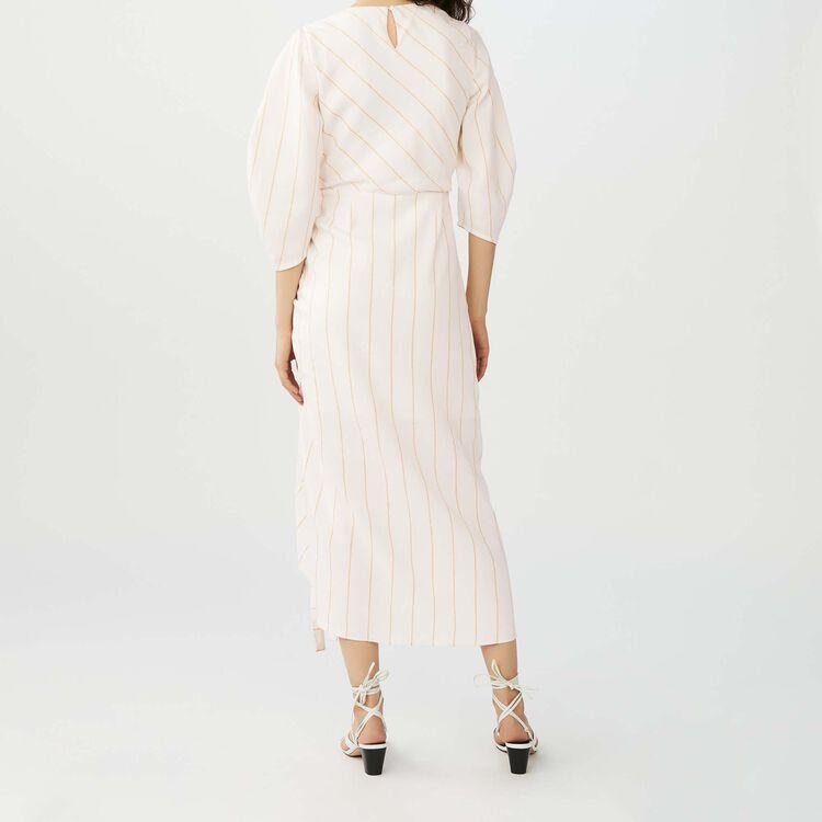 Langes gestreiftes Leinen-Kleid : Kleider farbe Ecru