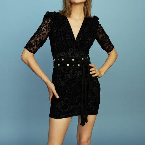 Spitzenkleid aus Velours : Kleider farbe Schwarz