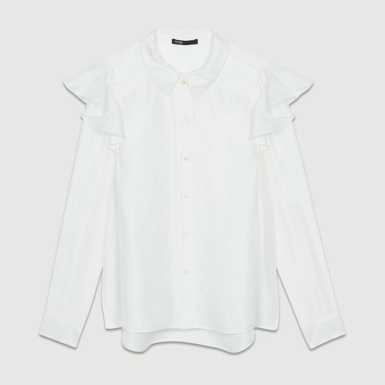 Seidenbluse mit Volants : Hemden farbe Weiss
