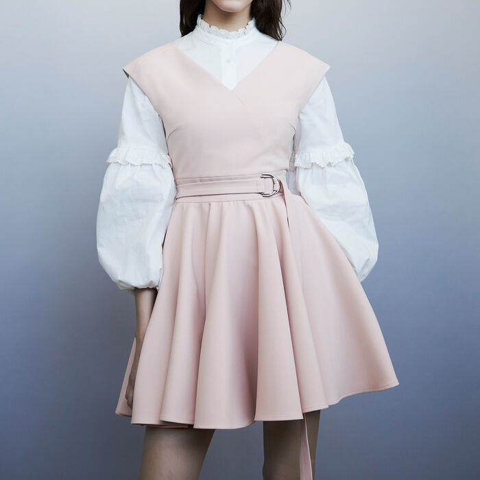 Ärmelloses Skaterkleid aus Krepp : Kleider farbe Rosa