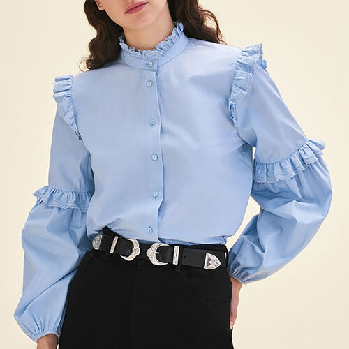 Hemdbluse aus Popeline mit Volants : Tops farbe Blau