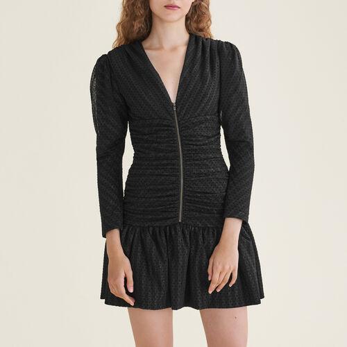 Kurzes, drapiertes Kleid : Kleider farbe Schwarz