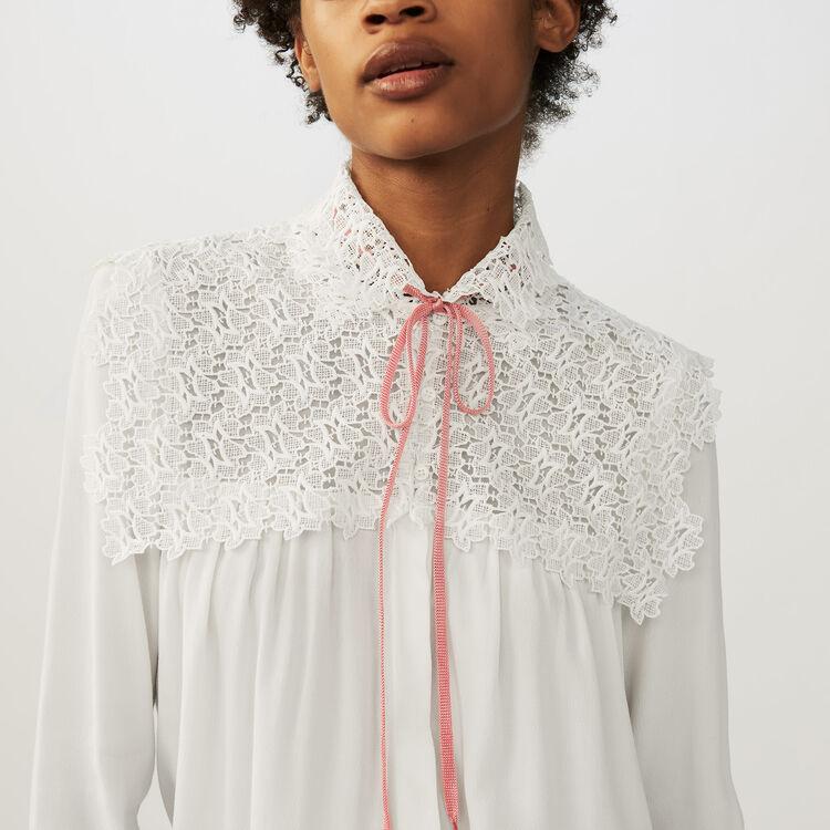 Bluse aus Krepp und Spitze : Hemden farbe Ecru