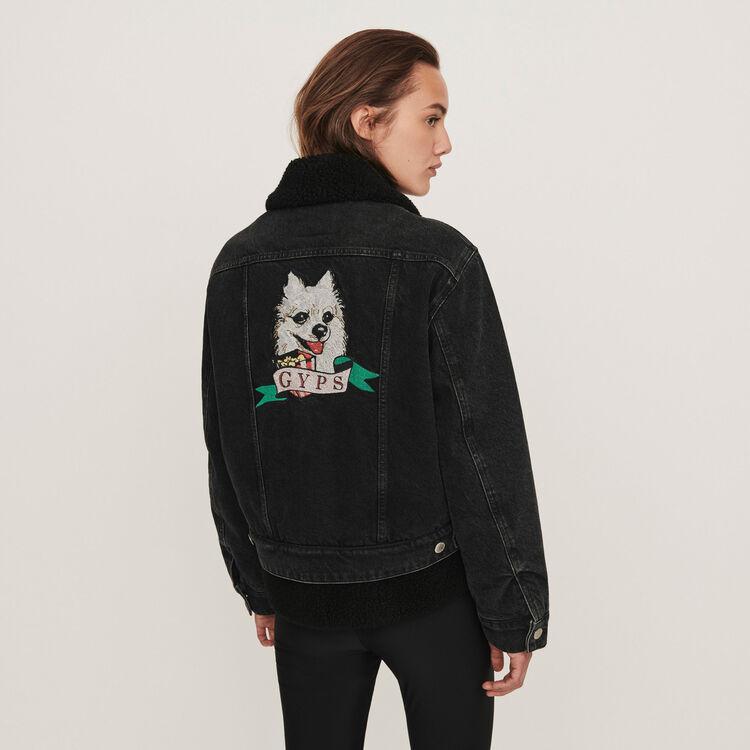 Jeansjacke mit gestickten Patchs : Mäntel & Jacken farbe Schwarz