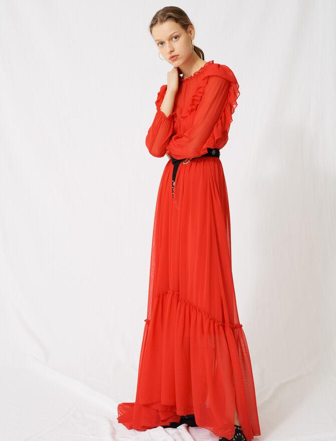 Langes Volantkleid aus Musselinstoff - Kleider - MAJE