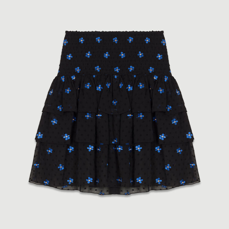 Volantrock mit Feder-Stickereien : Röcke & Shorts farbe Schwarz