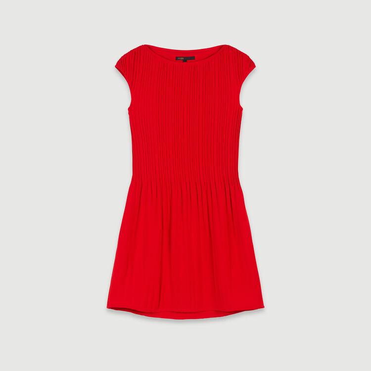 Ärmelloses Plissee-Kleid : Kleider farbe Rot