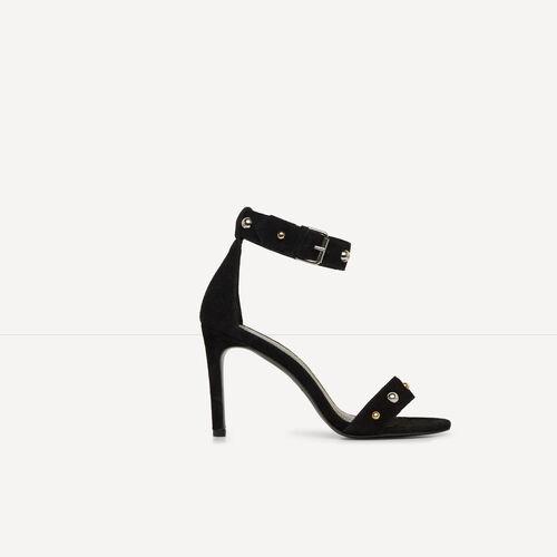 Absatzsandalen aus Leder mit Nieten : Accessoires farbe Schwarz