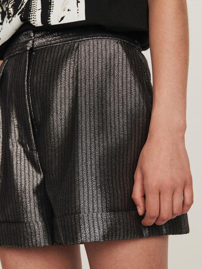 Shorts aus Lurex mit Revers - Röcke & Shorts - MAJE