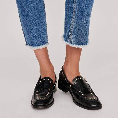 Studded glazed leather moccasins : Flache Schuhe farbe Schwarz