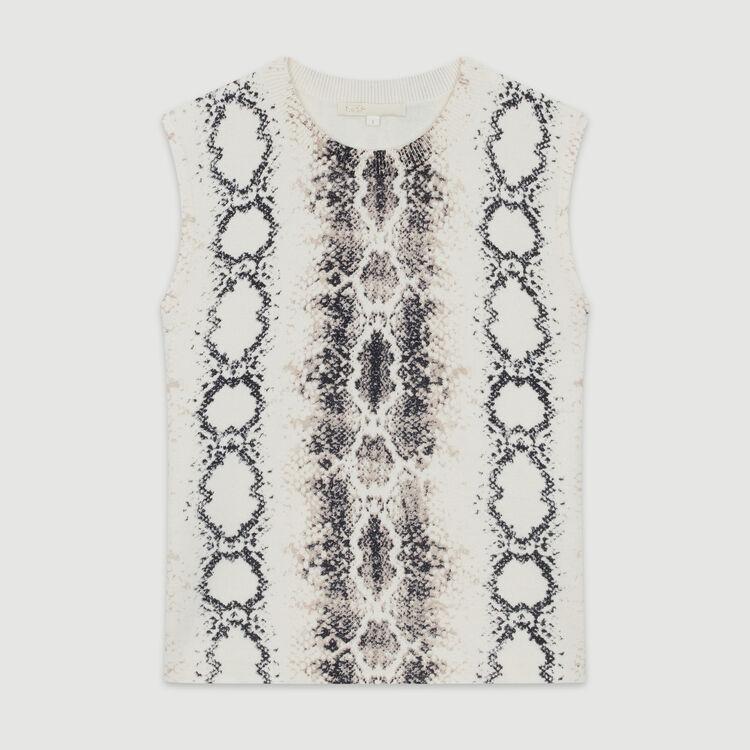 Kurzer, Pullover mit Python-Print : Pullover & Strickjacken farbe IMPRIME