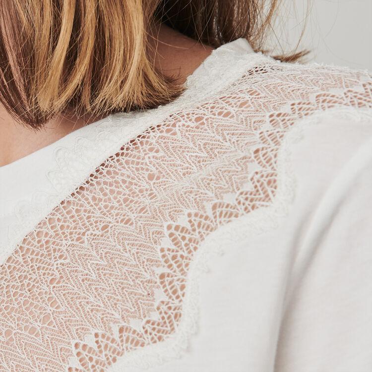 T-shirt mit Spitzen-Besatz : T-Shirts farbe Weiss