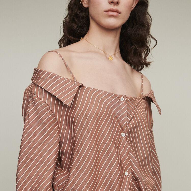 Schulterfreies Hemdkleid mit Streifen : Kleider farbe Terracotta