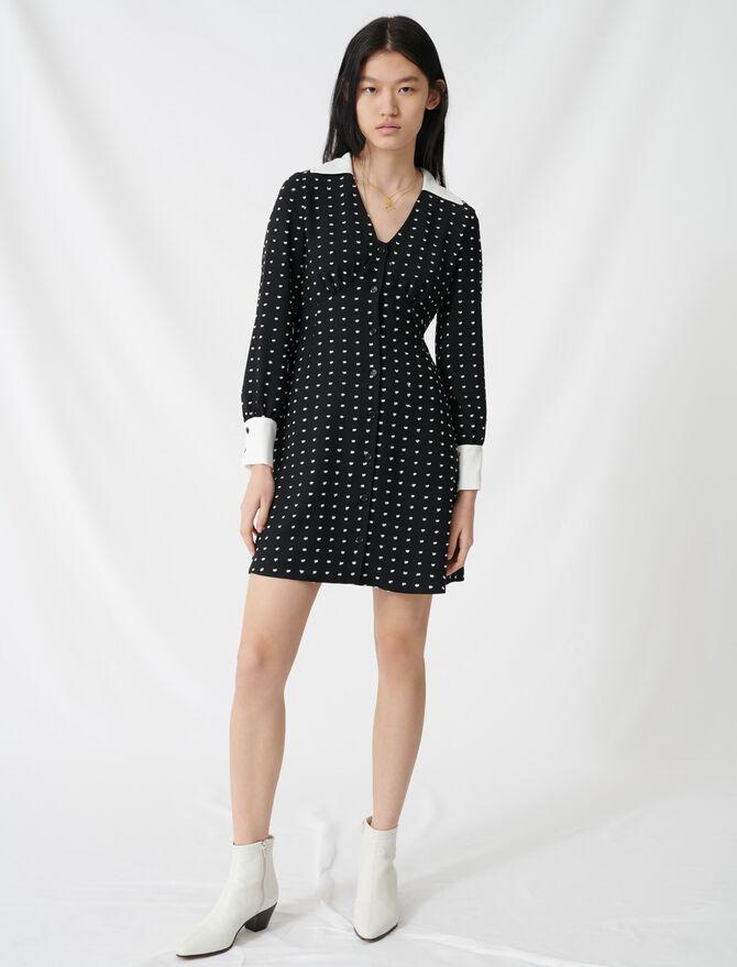 Gepunktetes Kleid mit Veredelungen - Kleider - MAJE
