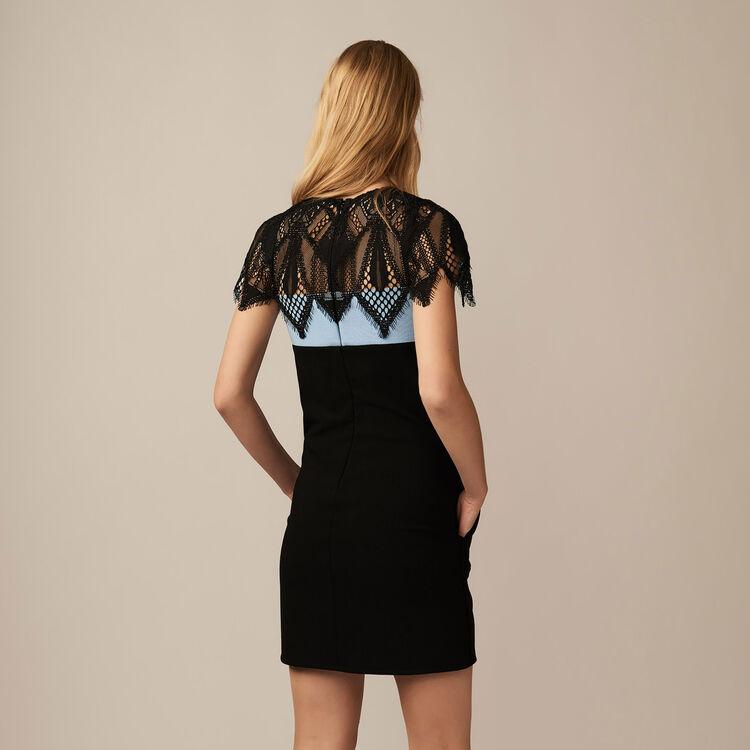 Dreifarbiges Kleid mit Gipürespitze : Kleider farbe BLEU CIEL