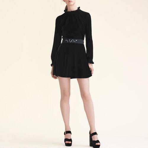 Kleid aus Velours mit Gürtel - Neuheiten - MAJE