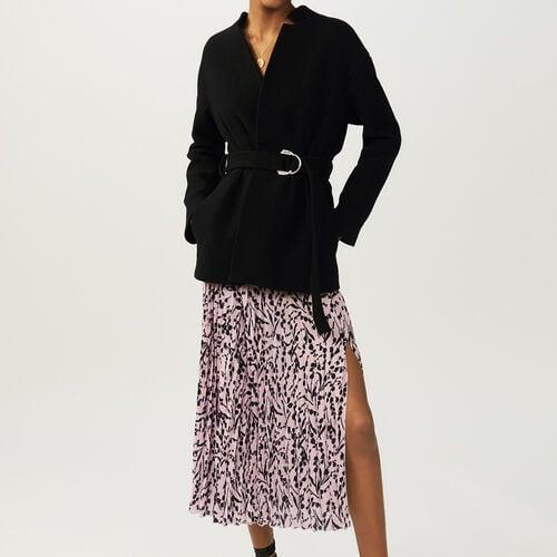 Kurzer Mantel mit Gürtel : Mäntel farbe Schwarz