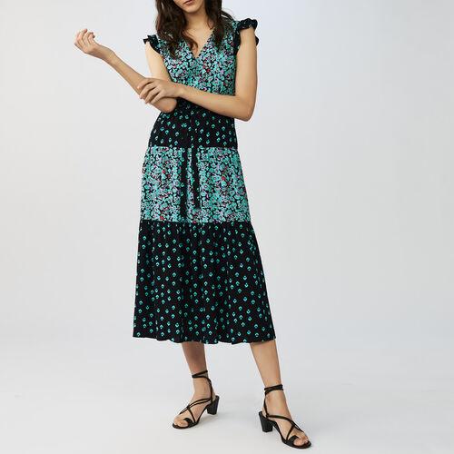 Langes asymmetrisches Kleid mit Print : Kleider farbe IMPRIME