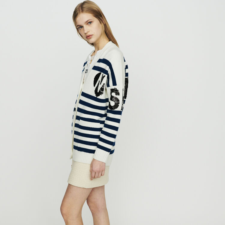 Strickjacke mit Streifen und Pailetten : Pullover & Strickjacken farbe ECRU