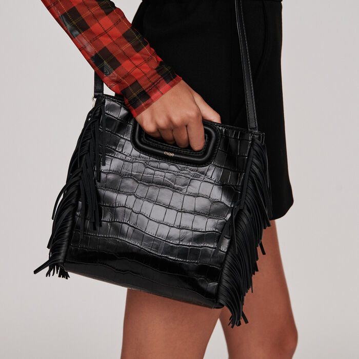 Crocodile embossed-leather M bag : M Tasche farbe Schwarz