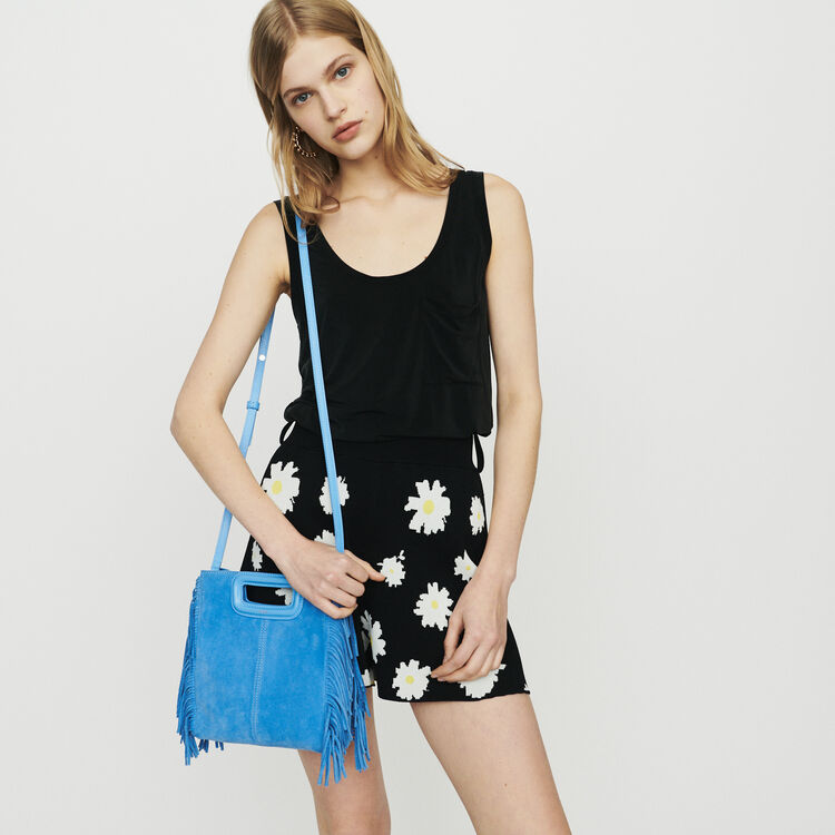 M-Tasche mit Fransen aus Veloursleder : M Tasche farbe Blau