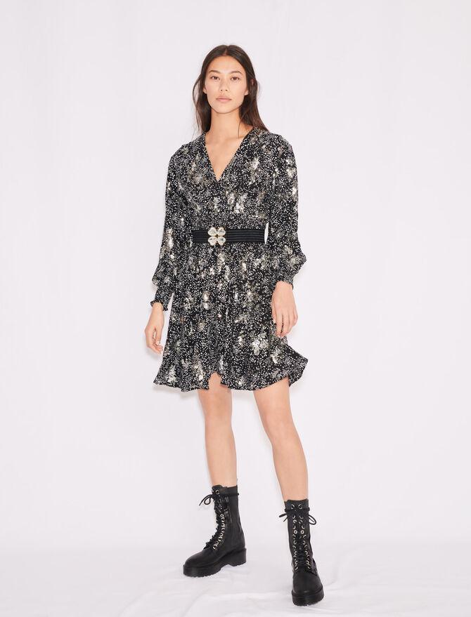 Bedrucktes Krepp-Kleid mit Pailletten - Kleider - MAJE