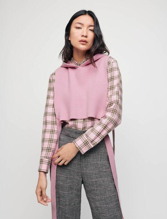 Strickkragen mit Kapuze : Pullover & Strickjacken farbe Rosa