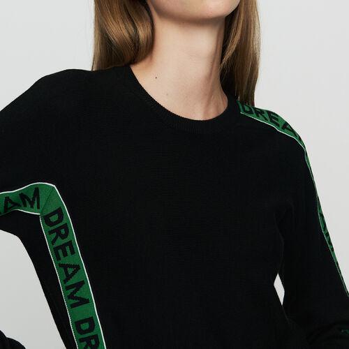 Oversize-Pullover mit Inschrift : Strickwaren farbe Schwarz