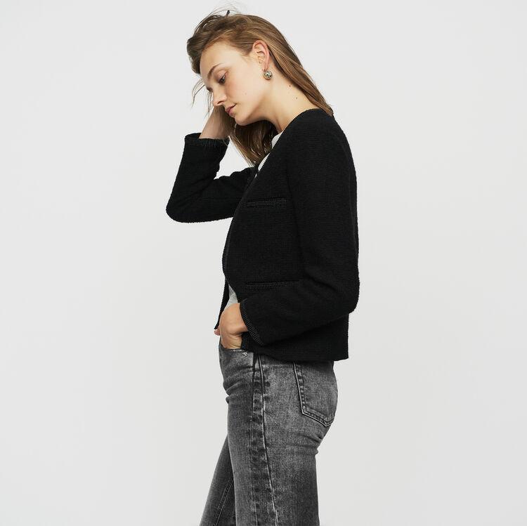 Kurze Bouclé-Strickjacke : Blazers farbe Schwarz