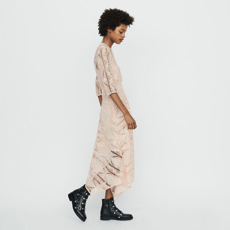 Long dress in guipure : Kleider farbe Rosa