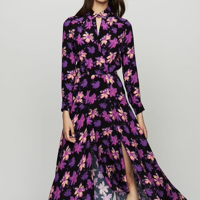 Asymmetrisches Kleid mit floralem Print : Kleider farbe Print