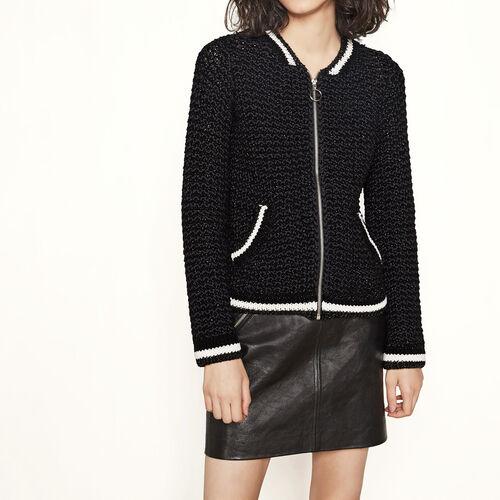 Cardigan aus Lurexstrick im Bomber-Stil : Pullover und Cardigans farbe Schwarz