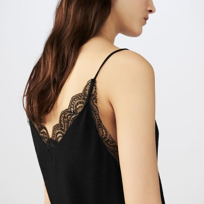 Krepp-Unterhemd mit Spitze : Tops & Hemden farbe Schwarz