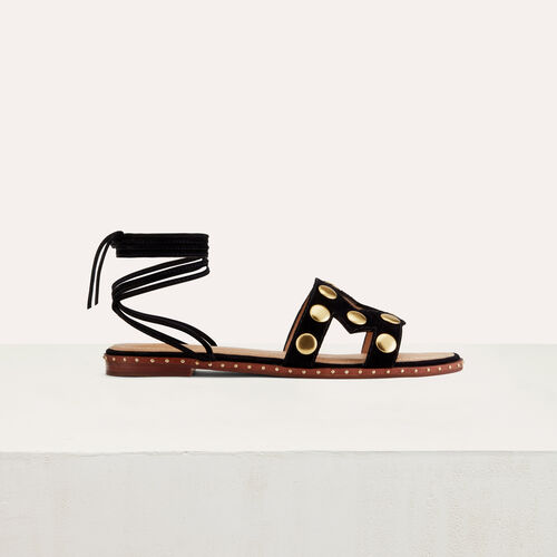Flache Veloursleder-Sandalen mit Nieten : Flache Schuhe farbe Schwarz