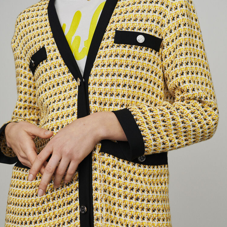 Jacke aus Tweed und Lurex : Blazers farbe Gelb
