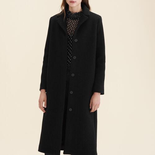 Langer Mantel aus Wollmix : Manteaux farbe Anthrazit