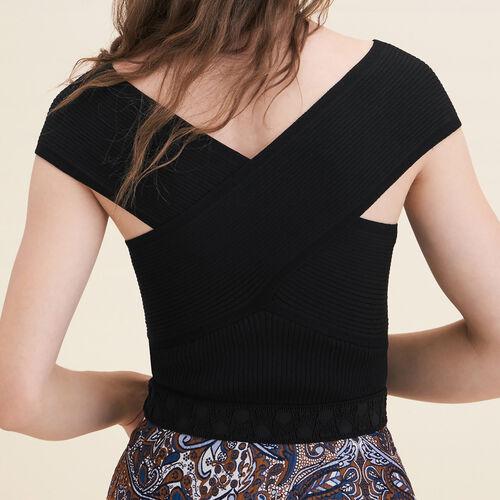 Ärmelloses Top aus Rippenstrick : Pulls & Cardigans farbe Schwarz