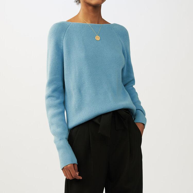 Pullover mit gekreuzten : Strickwaren farbe Himmelblau