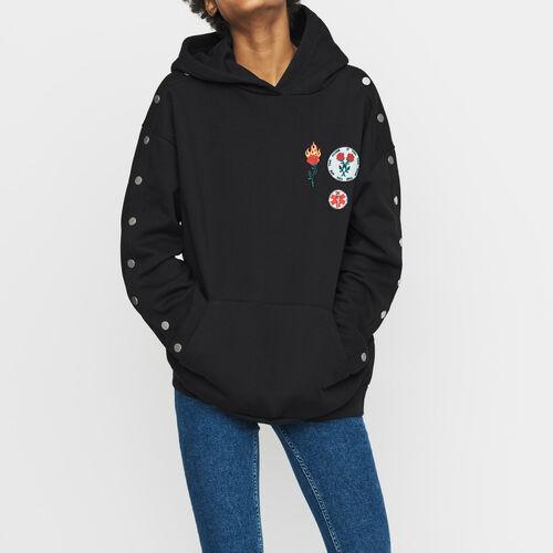 Kapuzen-Sweatshirt mit Druckknöpfen : Urban farbe Schwarz