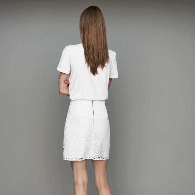 Kurzer Rock mit Spitze : Bekleidung farbe Weiss