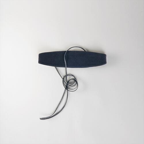 High-waisted suede belt : Gürtel farbe Schwarz