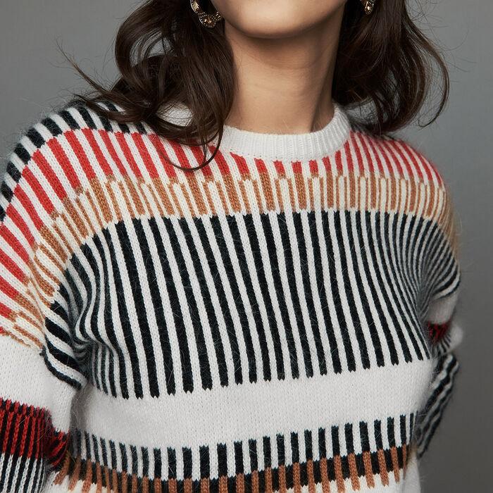 Oversize-Pullover aus Mischwolle : Strickwaren farbe Mehrfarbigen