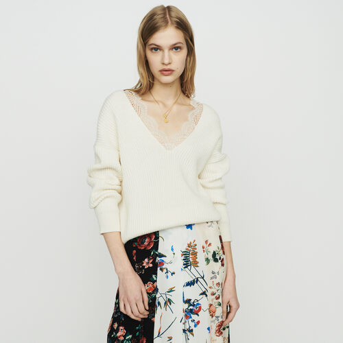 Oversize Pullover mit Spitze : Strickwaren farbe ECRU