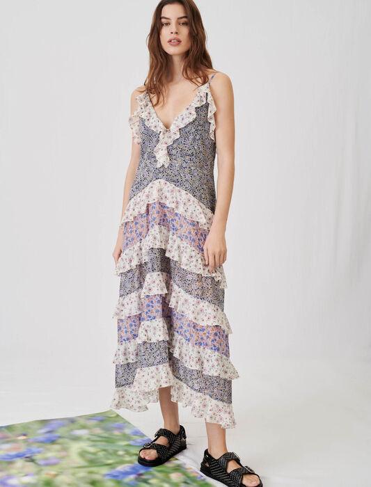 Volantkleid aus bedrucktem Baumwollvoile : Kleider farbe Blau