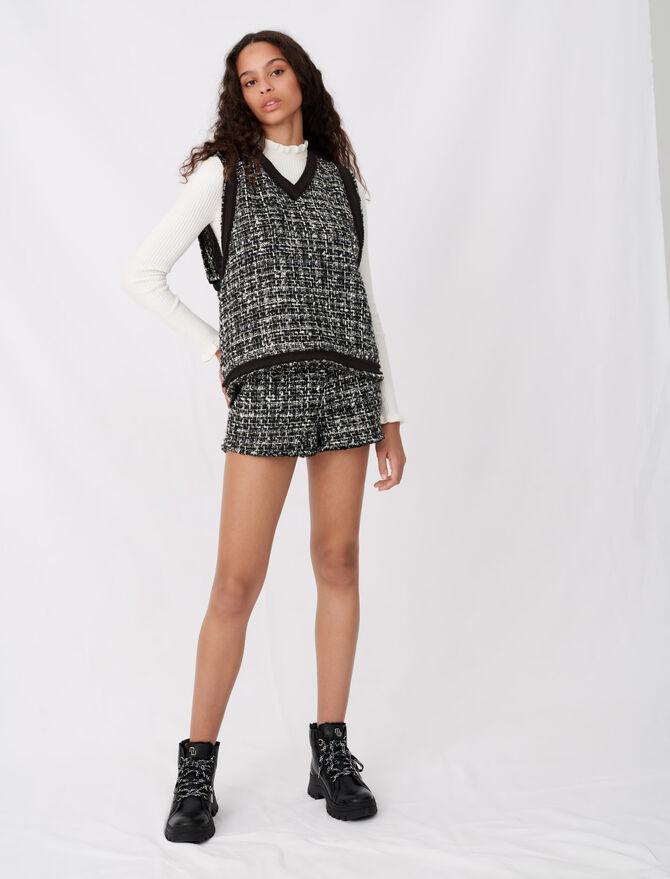 Tweed-Top, kontrastierender Fransengalon - Tops & Hemden - MAJE