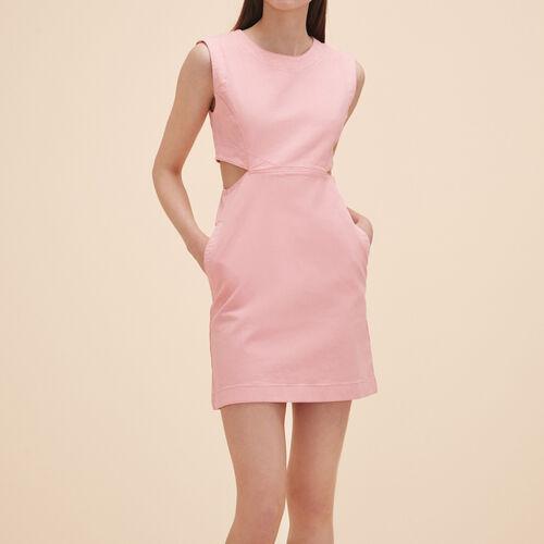 Ärmelloses Kleid aus Denim : Kleider farbe Rosa