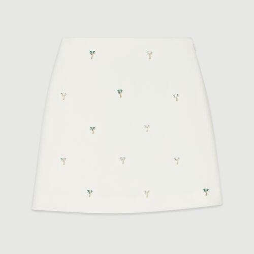 Kurzer Rock mit Palmenschmuck : Röcke & Shorts farbe Ecru
